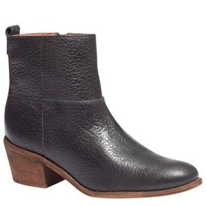 MADEWELL Perrie Black Pebbled Leather Ankle Boot 9